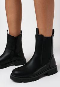 Born2be - Czarne Botki Hekilea. Wysokość cholewki: za kostkę. Nosek buta: okrągły. Kolor: czarny. Materiał: jeans, guma. Szerokość cholewki: normalna. Obcas: na obcasie. Wysokość obcasa: niski