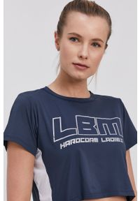 LABELLAMAFIA - LaBellaMafia - T-shirt. Kolor: niebieski. Materiał: dzianina. Wzór: nadruk