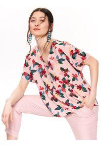 Różowa bluzka TOP SECRET z krótkim rękawem, krótka