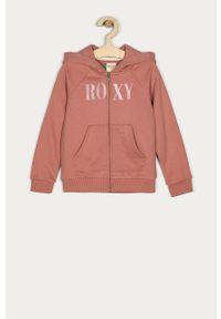 Różowa bluza rozpinana Roxy z nadrukiem, raglanowy rękaw, na co dzień