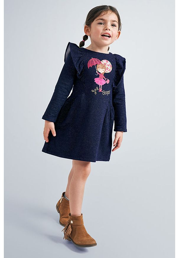 Niebieska sukienka Mayoral mini, z długim rękawem