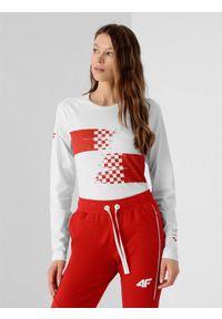 4f - Longsleeve damski Chorwacja - Tokio 2020. Kolor: biały. Materiał: dzianina, bawełna. Długość rękawa: długi rękaw. Długość: długie. Wzór: nadruk. Sezon: lato