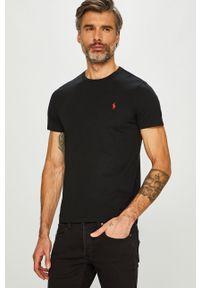 Czarny t-shirt Polo Ralph Lauren z okrągłym kołnierzem