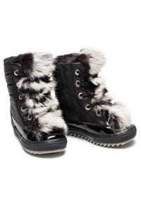 Bartek - Śniegowce BARTEK - 4769L-BATX Czarny. Kolor: czarny. Materiał: lakier, materiał, skóra. Szerokość cholewki: normalna. Wzór: aplikacja