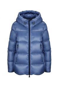 MONCLER - Niebieska kurtka Seritte. Kolor: niebieski. Materiał: materiał, puch. Sezon: jesień. Styl: klasyczny