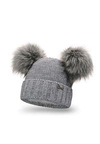 Szara czapka zimowa PaMaMi z aplikacjami