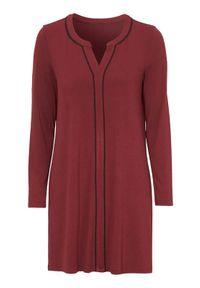 Czerwona tunika Cellbes elegancka, z kontrastowym kołnierzykiem, długa