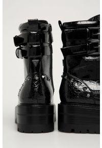 Czarne botki Guess Jeans z cholewką, na zamek