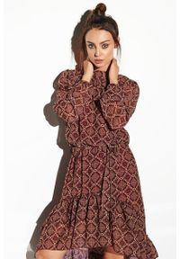 Lemoniade - Wzorzysta asymetryczna sukienka BOHO z falbanami i jedwabiem. Materiał: jedwab. Długość rękawa: długi rękaw. Sezon: jesień. Typ sukienki: asymetryczne. Styl: boho