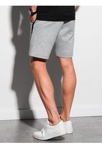 Ombre Clothing - Krótkie spodenki męskie dresowe W296 - szary melanż - XXL. Kolor: szary. Materiał: dresówka. Długość: krótkie. Wzór: melanż. Styl: sportowy