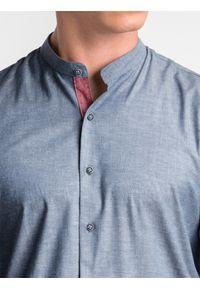 Ombre Clothing - Koszula męska z długim rękawem K488 - granatowa - L. Typ kołnierza: kołnierzyk stójkowy, kołnierzyk kontrastowy, kołnierzyk klasyczny. Kolor: niebieski. Materiał: elastan, tkanina, bawełna. Długość rękawa: długi rękaw. Długość: długie. Wzór: ze splotem, melanż. Styl: klasyczny