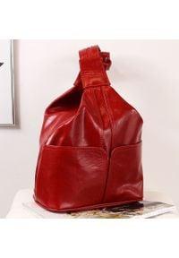 Plecak skórzany damski DAN-A T65A czerwony. Kolor: czerwony. Materiał: skóra. Styl: sportowy
