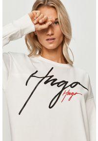 Biała bluza Hugo z długim rękawem, z aplikacjami, na co dzień, casualowa