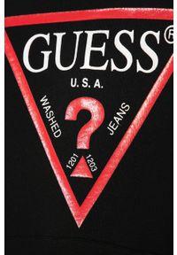 Czarna bluza Guess Jeans casualowa, z nadrukiem