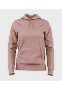 MegaKoszulki - Damska bluza z kapturem (bez nadruku, gładka) - różowa. Typ kołnierza: kaptur. Kolor: różowy. Wzór: gładki