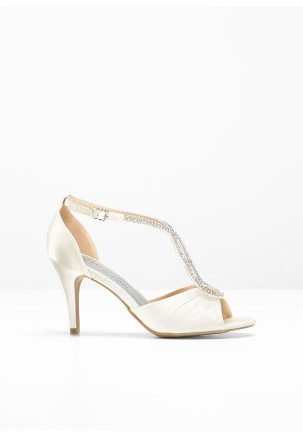 Beżowe sandały bonprix z paskami, eleganckie
