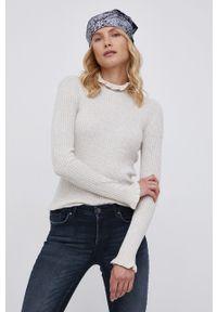 Vila - Sweter z domieszką wełny. Kolor: beżowy. Materiał: wełna. Długość rękawa: długi rękaw. Długość: długie. Wzór: ze splotem