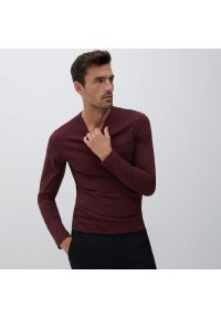 Reserved - Bluzka z długim rękawem Basic - Bordowy. Kolor: czerwony. Długość rękawa: długi rękaw. Długość: długie