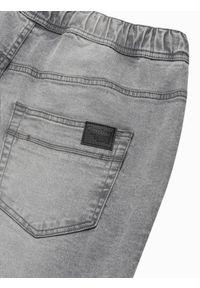 Ombre Clothing - Spodnie męskie jeansowe joggery P1027 - szare - XXL. Kolor: szary. Materiał: jeans. Styl: klasyczny
