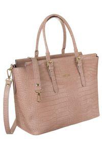 Skórzana torebka damska różowa Badura T_D216RO_CD. Kolor: różowy. Materiał: skórzane. Styl: elegancki