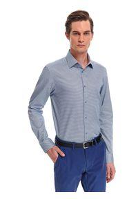 Niebieska koszula TOP SECRET w kolorowe wzory, na wiosnę, z klasycznym kołnierzykiem, długa