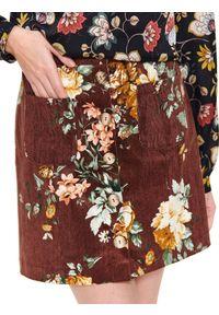 Brązowa spódnica TOP SECRET w kwiaty, krótka