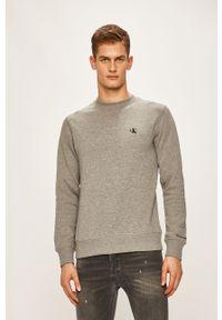 Szara bluza nierozpinana Calvin Klein Jeans casualowa, na co dzień, z okrągłym kołnierzem