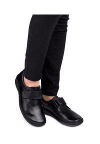Czarne półbuty ESCOTT eleganckie, w kolorowe wzory, na rzepy