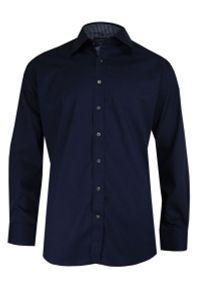 Chiao - Granatowa Elegancka Koszula Męska z Długim Rękawem, 100% Bawełna -CHIAO- Taliowana. Okazja: do pracy, na spotkanie biznesowe. Kolor: niebieski. Materiał: bawełna. Długość rękawa: długi rękaw. Długość: długie. Wzór: aplikacja. Styl: elegancki