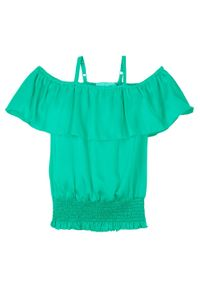 Bluzka dziewczęca off-shoulder bonprix zielony karaibski. Kolor: zielony