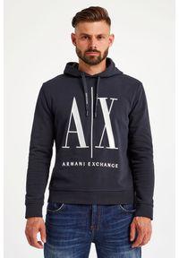 Armani Exchange - BLUZA ARMANI EXCHANGE. Typ kołnierza: kaptur. Materiał: bawełna. Długość rękawa: długi rękaw. Długość: długie. Wzór: haft