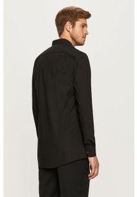 Czarna koszula Hugo elegancka, z długim rękawem, z klasycznym kołnierzykiem, długa