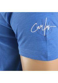 Niebieski t-shirt Adriano Guinari z krótkim rękawem, krótki, z napisami