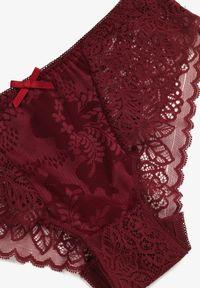 Renee - Bordowe Majtki Sineosis. Kolor: czerwony. Materiał: bawełna, koronka, materiał, jeans
