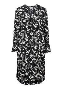 Cellbes Wzorzysta sukienka we wzory female ze wzorem 38/40. Typ kołnierza: dekolt w serek. Materiał: wiskoza. Długość rękawa: długi rękaw