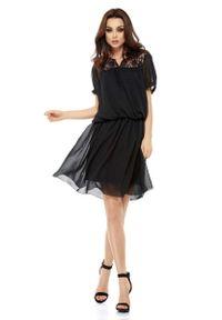Czarna sukienka boho Lemoniade w koronkowe wzory