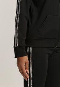 Renee - Czarno-Srebrny 2-Częściowy Komplet Dresowy Axiphelia. Kolor: czarny. Materiał: dresówka