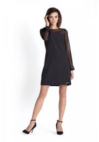 e-margeritka - Trapezowa elegancka sukienka wizytowa nad kolano - 38. Okazja: na sylwestra, na imprezę. Materiał: tkanina, wiskoza, materiał, elastan. Wzór: kropki, aplikacja. Sezon: jesień, zima. Typ sukienki: trapezowe. Styl: wizytowy, elegancki