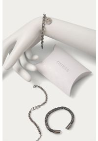 Srebrna bransoletka Guess ze stali, z kryształem, z aplikacjami