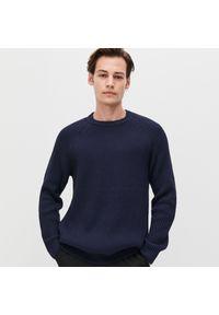 Niebieski sweter Reserved z klasycznym kołnierzykiem, klasyczny