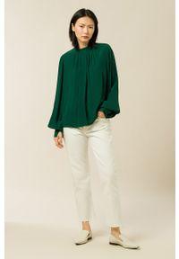 IVY & OAK - Bluzka Brianna. Kolor: turkusowy. Materiał: tkanina. Długość rękawa: długi rękaw. Długość: długie