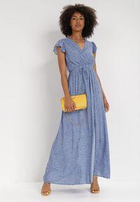 Born2be - Niebieska Sukienka Jophiel. Kolor: niebieski. Materiał: materiał. Wzór: kwiaty, nadruk. Typ sukienki: kopertowe. Długość: maxi