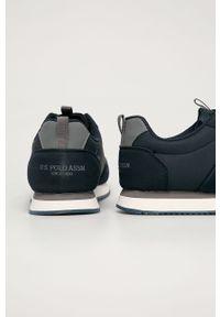 Niebieskie sneakersy U.S. Polo Assn z okrągłym noskiem, z cholewką, na sznurówki