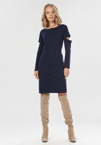 Born2be - Granatowa Sukienka Syringa. Kolor: niebieski. Materiał: dzianina. Długość rękawa: długi rękaw. Wzór: jednolity. Długość: midi