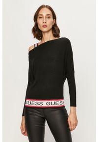 Czarny sweter Guess Jeans z aplikacjami, z okrągłym kołnierzem