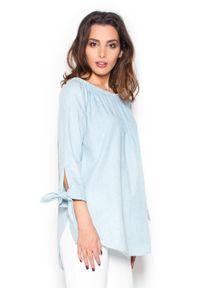 Niebieska bluzka z długim rękawem Katrus z kokardą