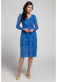 Nommo - Granatowa Wizytowa Rozkloszowana Sukienka z Koronki. Kolor: niebieski. Materiał: koronka. Wzór: koronka. Styl: wizytowy