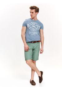 TOP SECRET - Szorty męskie gładkie. Okazja: na co dzień. Kolor: zielony. Materiał: tkanina. Długość: krótkie. Wzór: gładki. Sezon: wiosna, lato. Styl: casual #4