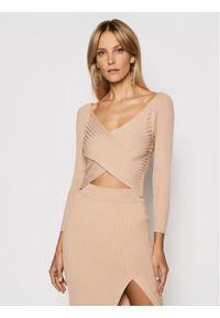 Kontatto Sweter 3M7257 Brązowy Slim Fit. Kolor: brązowy