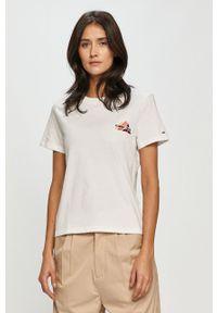 Biała bluzka Tommy Jeans casualowa, na co dzień, z aplikacjami